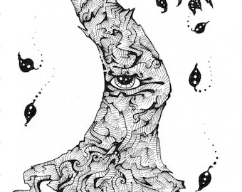 freehand surreal pen and ink drawing Seeing Tree #2