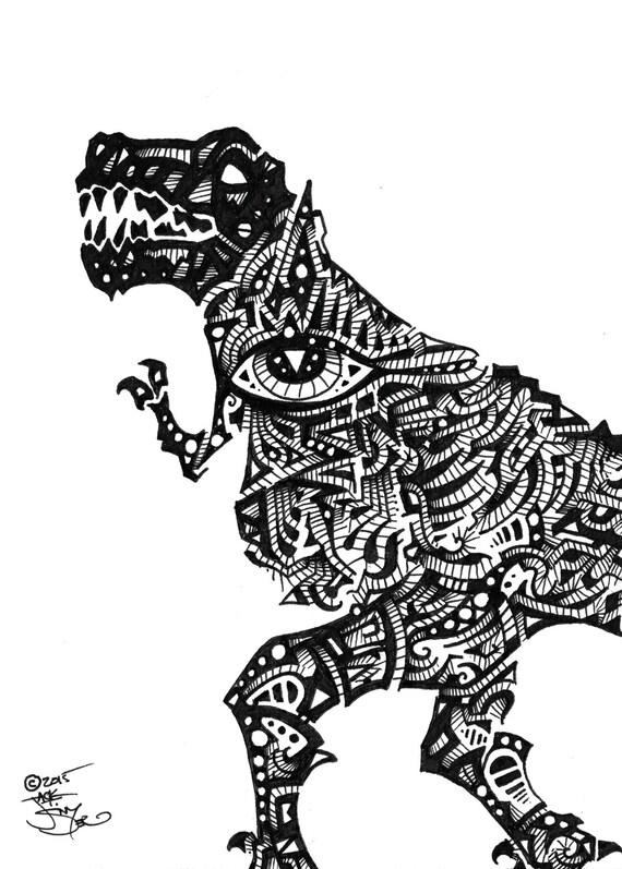 t rex surrealista pluma y tinta de dibujo etsy