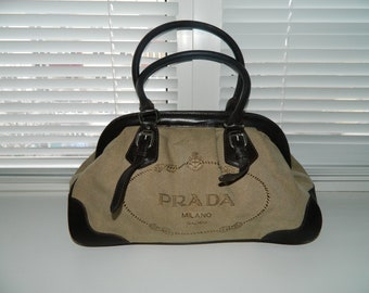 f06c62f87dc6 Vintage Rare Authentic PRADA Jacquard Canvas Handbag Shoulder Bag Leather  Beige Nylon