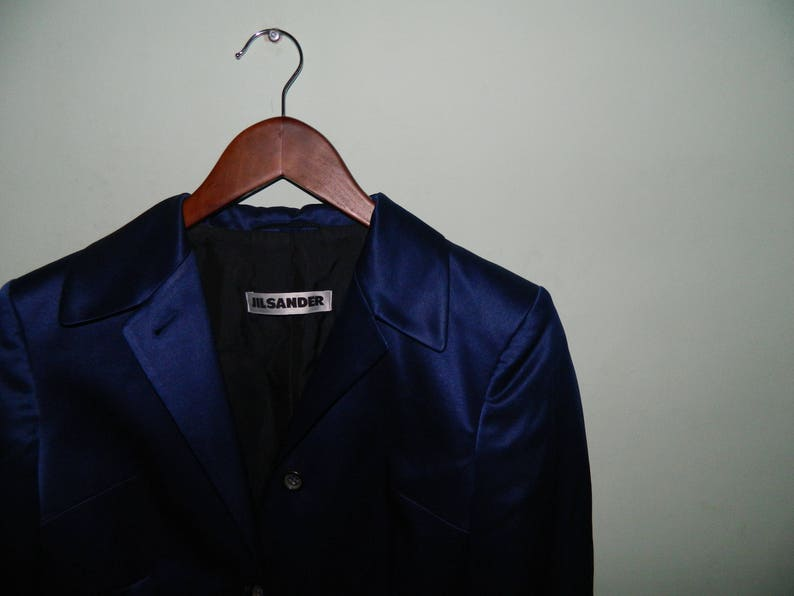 49741205df81d JIL SANDER Blazer Veste soie bleu marine authentiques femmes | Etsy