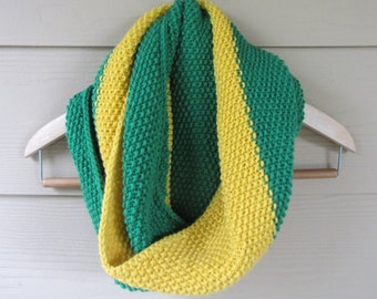 Green and Yellow Knitted Cowl