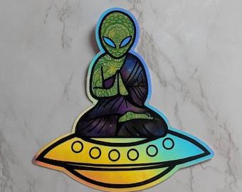 Holographic Sticker/ Alien Hologram/ Spaceship Sticker/ Vinyl Sticker/ Laptop Sticker/ Car Decal/water bottle Sticker/ Trippy Sticker