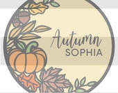 Autumn Fall Pumpkin Wreath SVG - Cute Hand-Drawn Fall Leaves SVG FILE for Laser Cut Signs - Personal and Commercial Use License Included