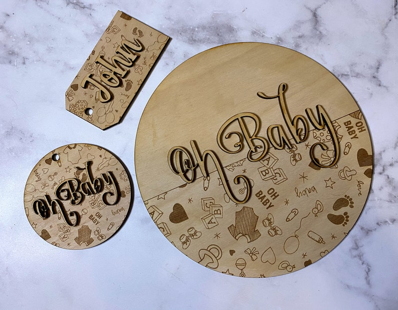 Baby Shower Gift Tags Oh Baby Doodle Engraving Pattern File Bundle Laser Engraving Files New Baby Doodle Engraving Pattern