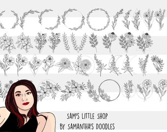 40 Flowers Engraving Bundle - Flower Files for Laser Engraving - Samantha's Doodles Engraving Flower Files - Floral Files for Glowforge