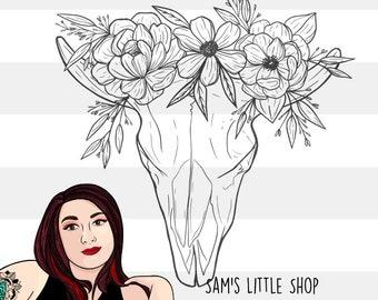 Devon Deer Skull with Flowers Engraving File - Skull Doodle Files - Samantha's Doodles SVG Engraving File