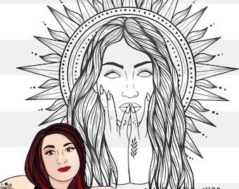 Sol Witchy Sun Goddess Engraving Design - Engraving SVG - Tattoo Inspired SVG Files - Samantha's Doodles Laser Engraving Files
