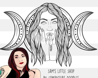Luna Witchy Moon Goddess Engraving Design - Engraving SVG - Tattoo Inspired SVG Files - Samantha's Doodles Laser Engraving Files