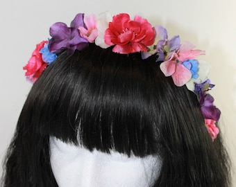 Vibrant Half Flower Crown // Pink, Purple and Blue Headband