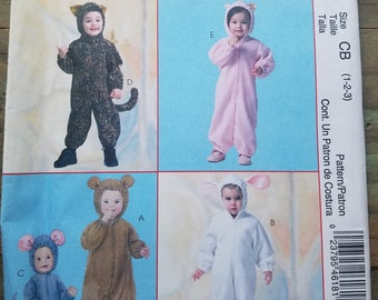 Toddler Cute Animal Costume Pattern - 12 months-3T