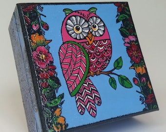 Owl and Flowers Jewelry Box, Gift for Grandaughter, Wisdom Box