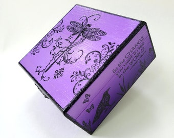Purple Dragonfly Jewelry Box, Keepsake, Gift for Loved One, Mixed Media Art