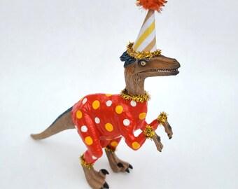 "Dinosaur Figurine, Raptor, Decorative Dinosaur Art, Party Animal, ""Wade"""