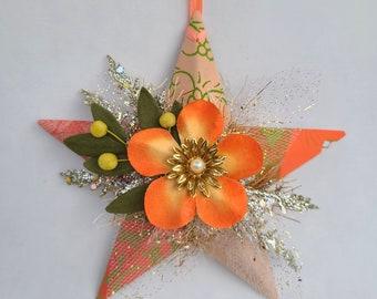 Star Ornament - Orange Flower Star - Gift for Friend