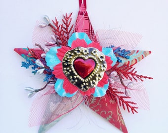 Star Ornament, Red and Turquoise Gift, Ornament with Heart, El Corazon