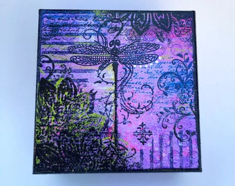 Purple Collage Dragonfly Jewelry Box