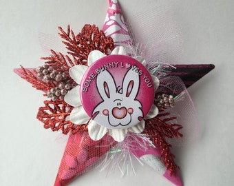 Star Ornament - Some Bunny Loves You - Valentines Ornament - Gift for Loved One