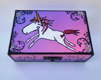 Unicorn Box - Box for Children - Whimsical Unicorn Art - Art for Children's Room - Personalized Gift