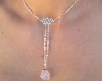 925 Sterling Silver Lotus Flower Rose Quartz, Amethyst, Crystal Quartz Lariat Beaded Necklace