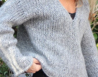 Alpaga Sweater - Oversize sweater - handknit - Grey Pullover - Natural Pullover