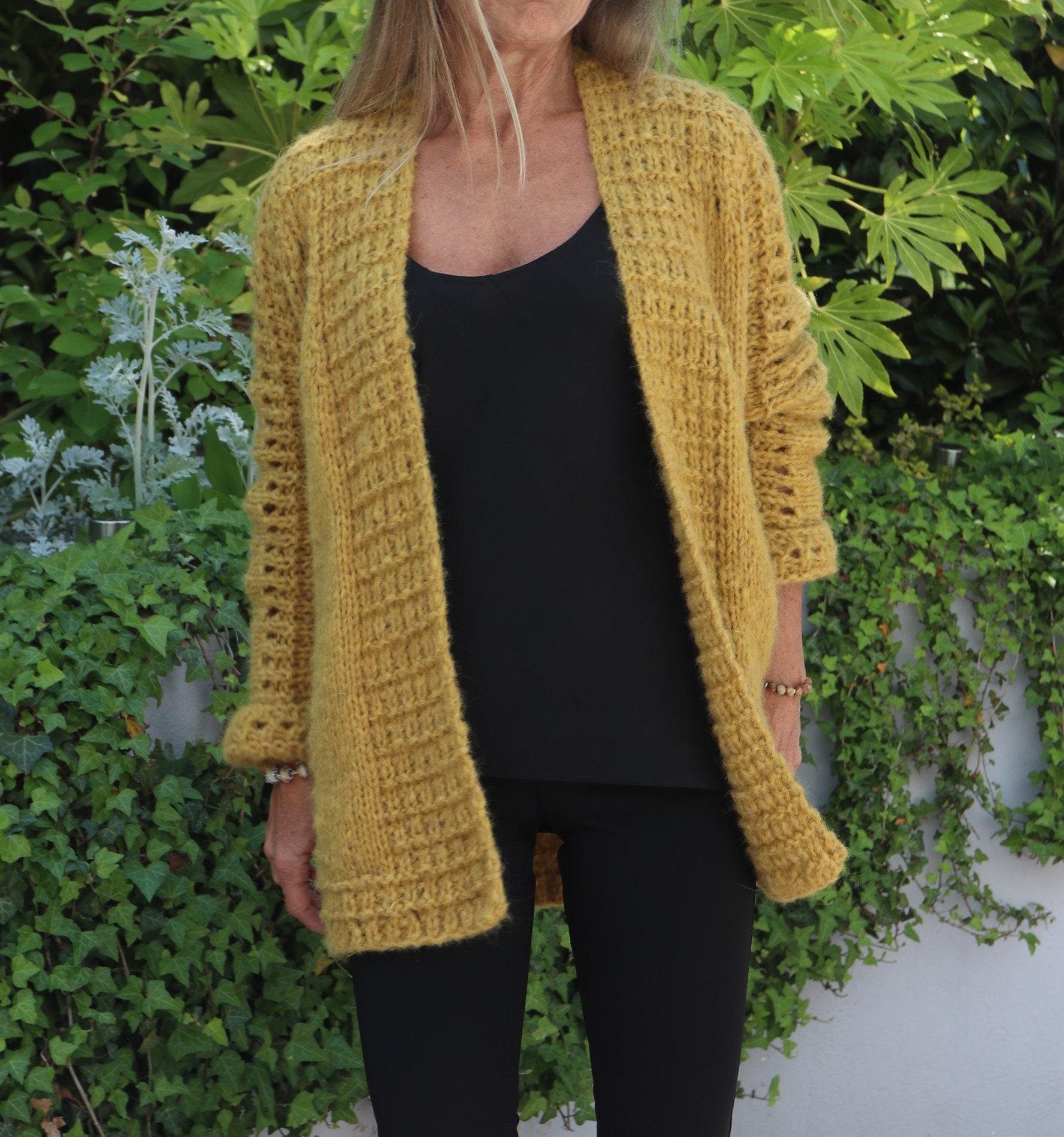 74e01f103 Alpaca mid-length jacket hand-knit Cardigan Knitting