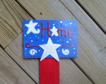 Patriotic Yard Stake, Patriotic Garden Stake, Hand Painted Garden Decor,  4th Of July