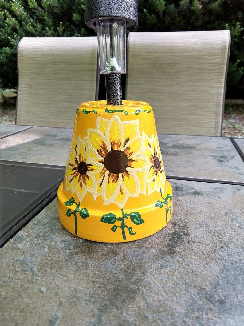 Etsy & Clay pot solar light Hand painted flower pot solar light sunflower decor