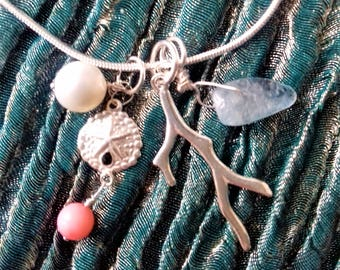 Women's charm necklace, Pearl, Aquamarine, ethically sourced Coral and 925 sterling silver sand dollar - Flotsam & Jetsam