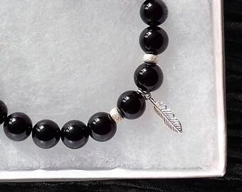 Feather charm bracelet, black agate, 925 sterling silver, charm bracelet, feather bracelet, black bracelet, bracelet, feather jewellery