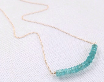 Gold Apatite Necklace, Silver Apatite Necklace, Apatite Necklace, Gemstone Bar Necklace, Layering Necklace, Bridesmaid gift, Gift for her
