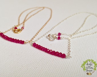 Real ruby necklace - July birthstone necklace - gold silver ruby necklace - 14k gold filled - silver - dainty necklace - beaded bar necklace