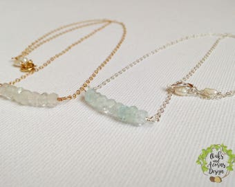 March birthstone necklace - aquamarine necklace - gold aquamarine necklace - 14K gold filled - dainty silver necklace - beaded bar necklace