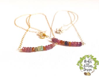 Gold tourmaline necklace - tourmaline necklace - 14k gold filled - dainty necklace - October birthstone necklace - beaded bar necklace