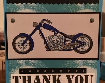 Thank you cards 4 Handmade one of a kind Cards  blank inside motorcycle (white envelope included when shipped)