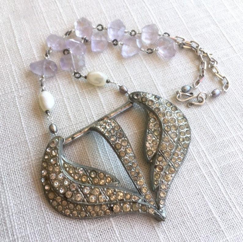 vintage rhinestone buckle, mother of pearl, freshwater pearl, amethyst, sterling silver Twilight Tomorrow