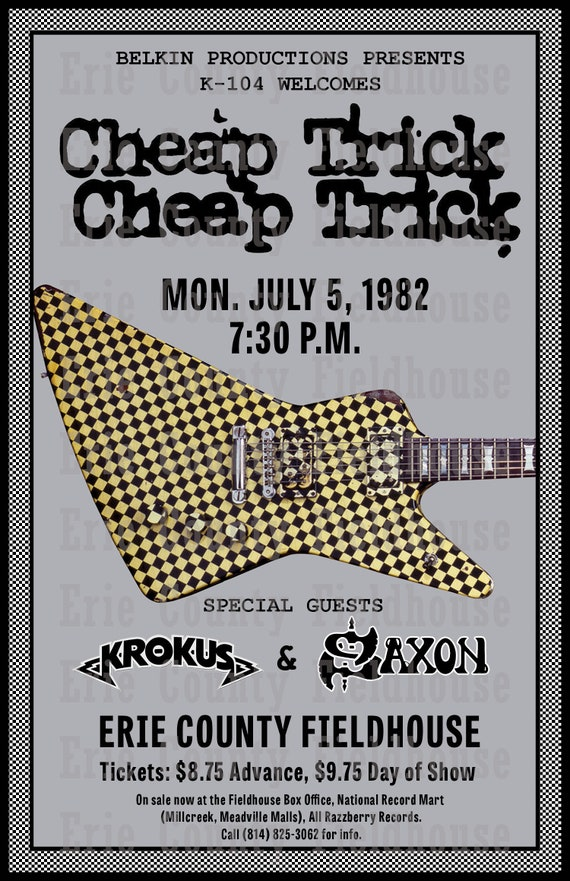 Cheap trick 1982 Concert Poster Erie County Fieldhouse Erie | Etsy