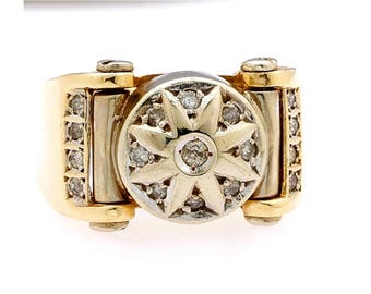 14k gold diamond ring. .30 ctw diamonds, weight 21.3 grams sz 12