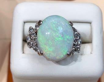 Opal & diamond ring, hallmark 14k white gold. 3.88dwt, sz 6.75 natural opal, oval cabochon 5.6ct 16.25 x 12.89 x 6.13mm, diamond 0.30ctw