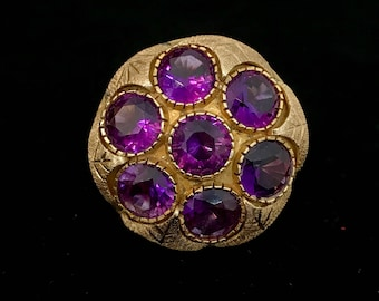 14k Gold and Amethyst Ring with mushroom cap style mount.