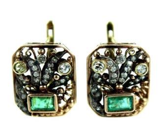 Art Nouveau Gold Emerald and Diamond earrings