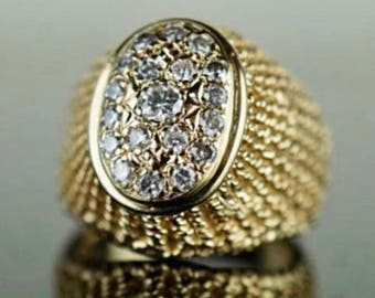 14k yellow gold filigree ring with diamonds. Sz 4 3/4. Weight 8 grams