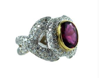 18k Tourmaline and Diamond Ring