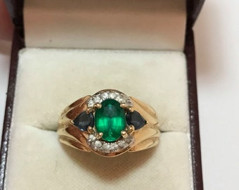 14k gold green and blue stone diamond ring. Sz 9, 9.1 grams.