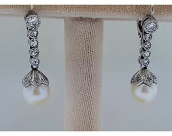 Art Deco platinum diamond and pearl earrings