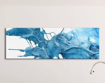 ICE SERIES   #5002, Large Abstract Glacier Painting, Artist-Signed, Giclee Print, Contemporary Art, Acrylic, Nature, Blue, 8x24 - 30x90