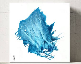 ICE SERIES #1012, Modern Blue Painting, Artist-Signed, Abstract Giclee Wall Art Print, Home Decor, Contemporary Art