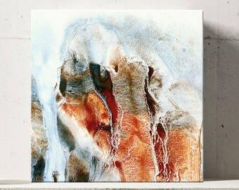 CLIFF SERIES   #1008, Contemporary Art, Artist-Signed, Abstract, Modern Wall Art, Giclee Fine Art Print, Orange, Brown, White, 8x8 - 36x36