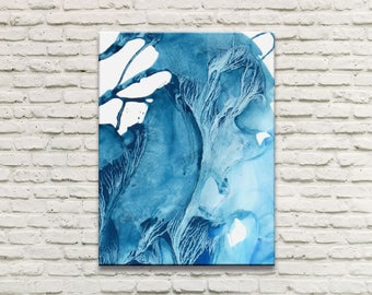ICE SERIES   #2001, Abstract Ice Painting, Artist-Signed, Giclee Print, Acrylic, Contemporary, Wall Art, Fits 11x14, 16x20, 9x12 - 36x48