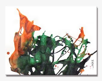 LEAVES SERIES #2008, Artist-Signed, Abstract Giclee Wall Art Print, Home Decor, Contemporary Art ,Green Modern Acrylic Painting