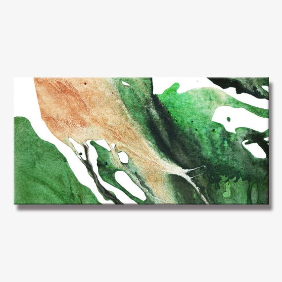 Contemporary Leaves Painting, Artist-Signed, Giclee Fine Art Print, Abstract Painting, Acrylic, Wall Art, Home Decor, Spring, 12x24 - 36x72